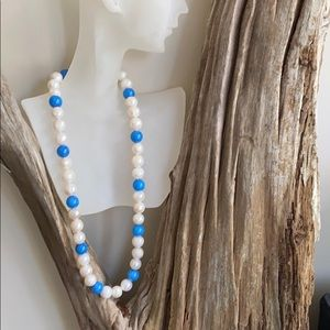 Blue and white pearl beaded necklace